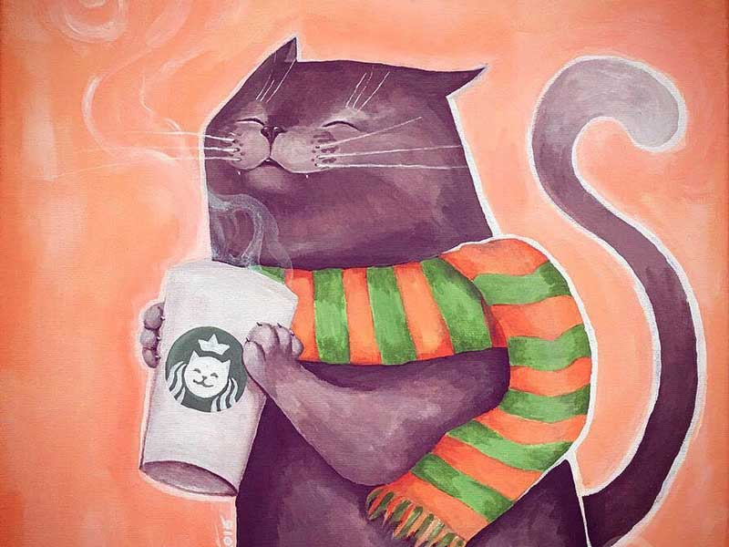 Coffee cat at Catbucks by Silartworks