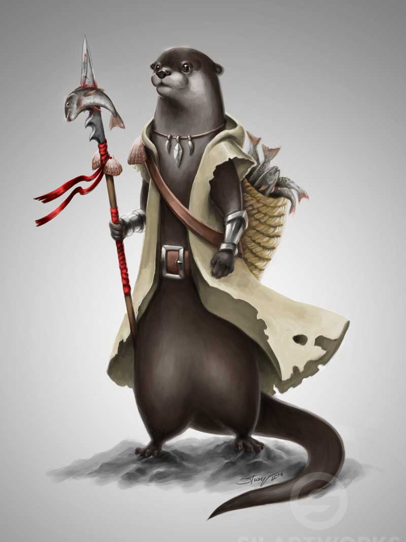 Otter fisherman by Silartworks
