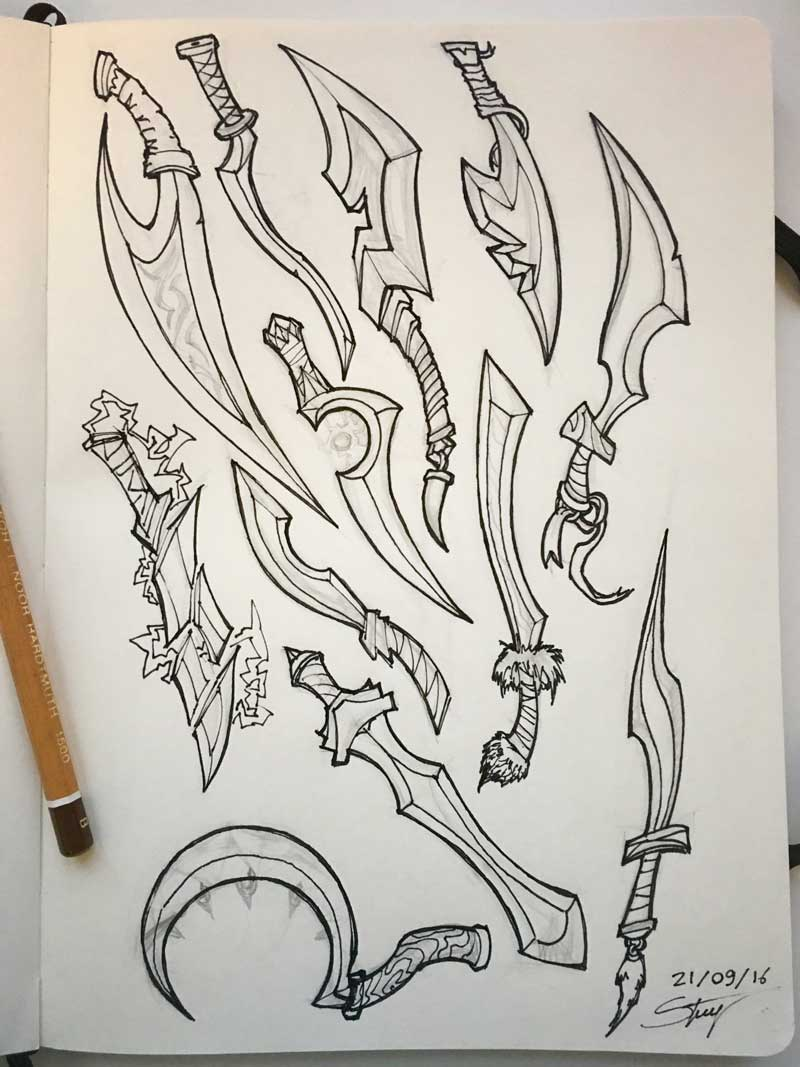 Weapons sketch by Silartworks