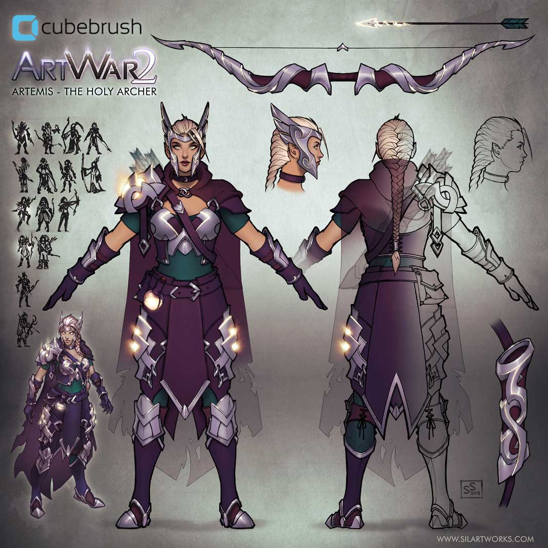 Artemis the holy archer artwar 2 concept sheet by Silartworks