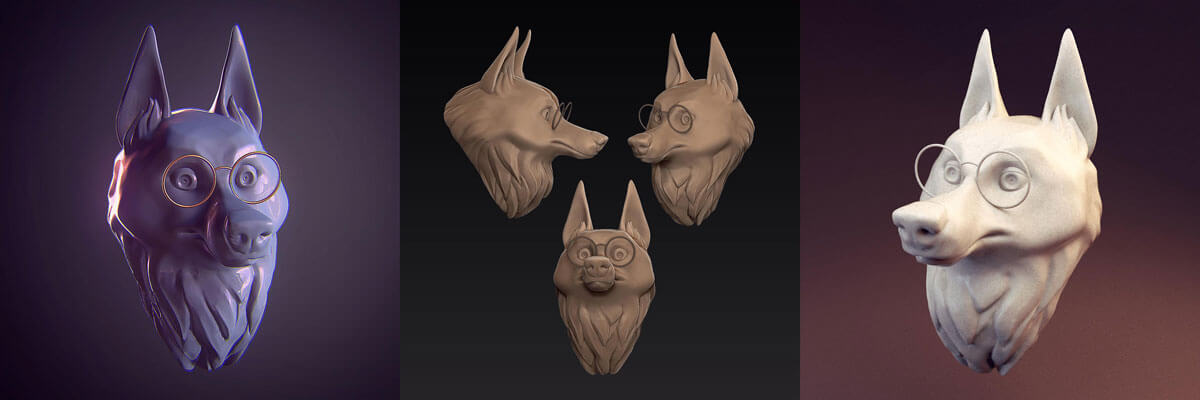 Wolf head sculpt with zbrush by Silartworks